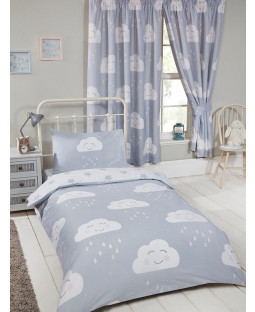 Happy Clouds Junior Toddler Bedding Bundle Set Bedroom Duvet, Pillow and Covers