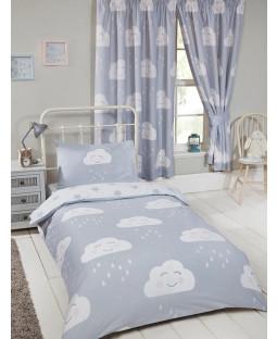 Happy Clouds Junior Toddler Bedding Bundle Set Bedroom Duvet, Pillow and Covers