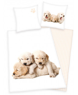 Puppies Single Cotton Duvet Cover and Pillowcase Set
