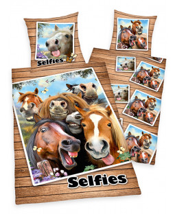 Horse Selfies Single Duvet Cover and Pillowcase Set