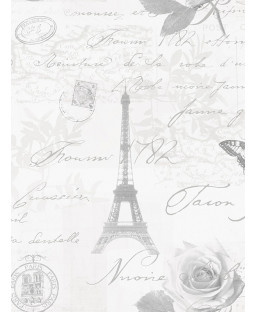 Calligraphy Paris Postcard Wallpaper Grey - 97752 Holden