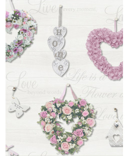 Holden Gracie Floral Hearts Wallpaper - Pink / Grey 12020