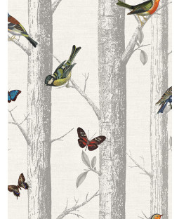 Holden Epping Birds on Branches Wallpaper - White 12231