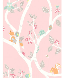 Woodland Adventure Wallpaper Pink Holden 12492