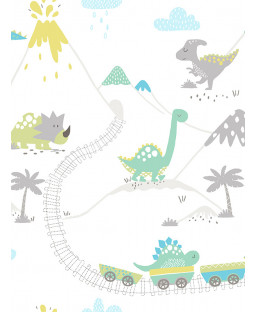 Dino Town Dinosaur Wallpaper Grey / Teal Holden 12531