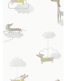 Walkies Sausage Dog Wallpaper Grey / White Holden 12551