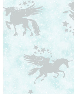 Over the Rainbow Iridescent Unicorns Wallpaper Teal / Silver Holden 90950
