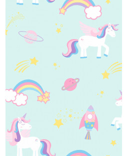 Over the Rainbow Unicorns and Rockets Wallpaper Teal Holden 90962
