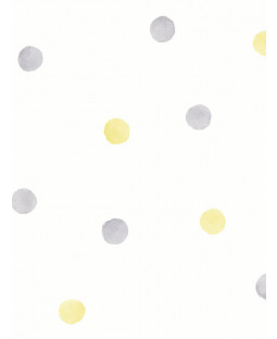 Over the Rainbow Watercolour Polka Dots Wallpaper Grey / Yellow Holden 91002