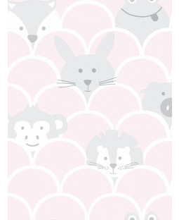 Over the Rainbow Peek a Boo Animals Wallpaper Pink / Grey Holden 91031