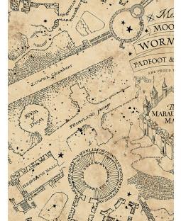 Harry Potter Mischief Managed Glow In The Dark Wallpaper Parchment Graham & Brown 108186