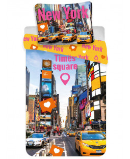 New York Times Square Single Cotton Duvet Cover Set