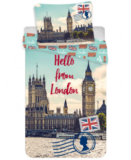 Hello From London Single Cotton Duvet Cover Set