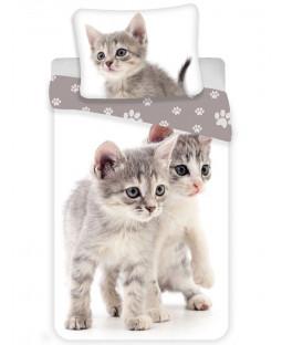 Kittens Grey Single Cotton Duvet Cover Set