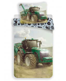 Tractor Single Cotton Duvet Cover and Pillowcase Set