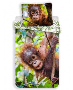 Orangutan 100% Cotton Single Duvet Cover and Pillowcase Set - European Size