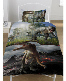 Jurassic Predators Dinosaurs Single Duvet Cover and Pillowcase Set