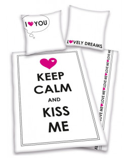 Keep Calm & Kiss Me Single Duvet Cover & Pillowcase Set