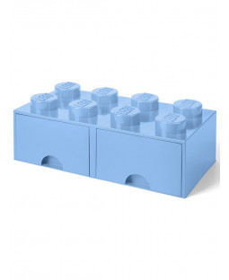 Lego Brick Storage Box 8 with 2 Drawers - Blue