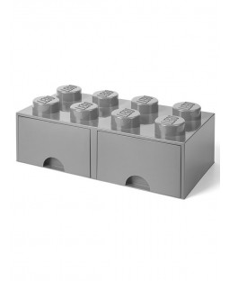 Lego Brick Storage Box 8 with 2 Drawers - Stone Grey