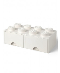 Lego Brick Storage Box 8 with 2 Drawers - White