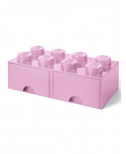 Lego Brick Storage Box 8 with 2 Drawers - Light Pink
