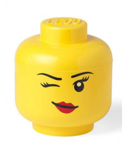 Lego Large Storage Head Girl - Winking Face