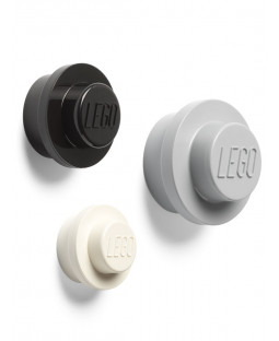 Lego 3 Piece Wall Hanger Set - Grey, Black & White