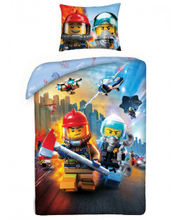 Lego City Police Fire Single Cotton Duvet Cover Set