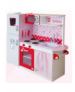 Leomark Big Wooden Kitchen with Fridge - Pink