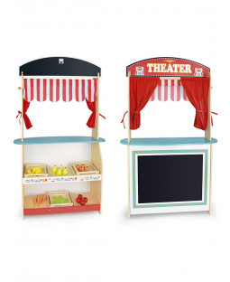 Leomark Wooden Shop and Theatre 2 in 1 Play Set