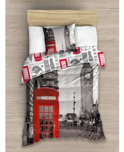 London Single Cotton Duvet Cover and Pillowcase Set
