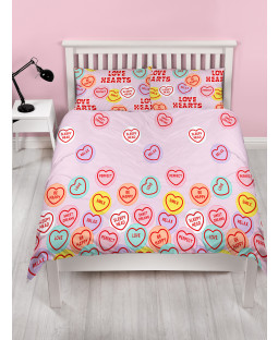 Love Hearts Happy Rotary Double Duvet Cover and Pillowcase Set