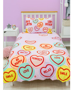 Love Hearts Happy Rotary Single Duvet Cover and Pillowcase Set