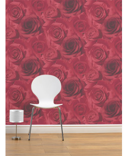 Papel tapiz floral Madison Rose - Rojo - 119502