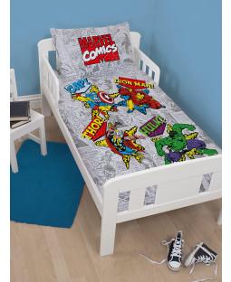 Marvel Comics Retro 4 in 1 Toddler Bedding Bundle (Duvet, Pillow, Covers)