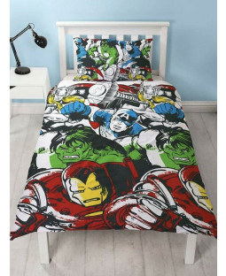 Marvel Comics Squad Single Duvet Cover and Pillowcase Set