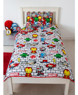 Marvel Kawaii Assemble Coverless Single 10.5 Tog Quilt and Pillowcase Set