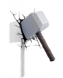 Lámpara de pared LED 3D Marvel Thor Hammer