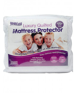 Dreameasy Quilted Polycotton Mattress Protector - Double, White