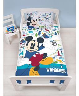Set di pacchi biancheria da letto per bambini 4 in 1 Topolino Wanderer (piumone, cuscino e coperte)