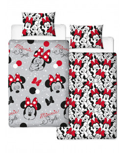 Disney Minnie Mouse Reversible Single Duvet Cover and Pillowcase Set