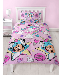 Minnie Mouse Unicorns Single Duvet Cover and Pillowcase Set