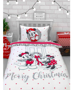 Ensemble de housse de couette simple de Noël Mickey et Minnie Mouse