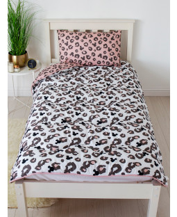 Minnie Mouse Leopard Coverless Single 10.5 Tog Juego de edredón y funda de almohada