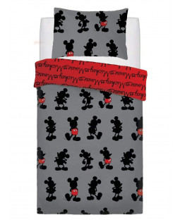 Mickey Mouse Pops of Red Single Duvet Cover Set