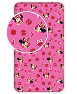 Minnie Mouse Hearts Single Fitted Sheet