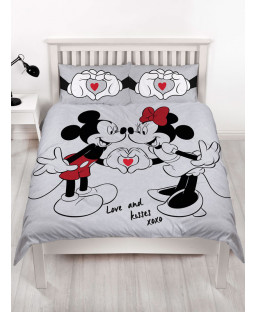 Mickey and Minnie Mouse Love Double Duvet Cover Set