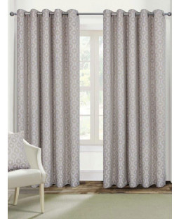 Belle Maison Lined Eyelet Curtains - Milano Range Natural
