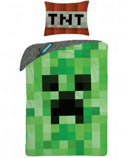 Minecraft Creeper Face Single Duvet Cover Set - European Size